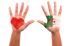 有一个被绘的重点和阿尔及利亚的标志的非洲现有量,我爱alg 库存图片