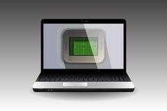 有一个足球场的个人计算机在屏幕上 图库摄影