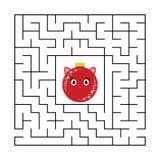 有一个逗人喜爱的颜色漫画人物的抽象方形的迷宫 逗人喜爱球的圣诞节 孩子的一场有趣和有用的比赛 库存例证