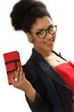 有一个钱包的好黑人女孩在手上 图库摄影