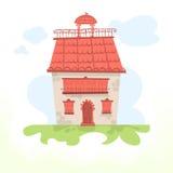 有一个铺磁砖的屋顶和公鸡的神仙的房子 库存照片