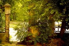 有一个门的老篱芭对街道 免版税图库摄影