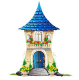 有一个阳台的童话房子有花的 库存图片