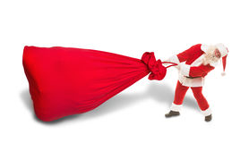有一个非常大袋子的圣诞老人礼物 库存照片
