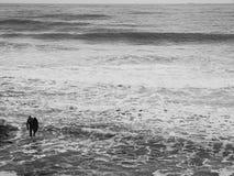 有一个风帆冲浪委员会的一个人以波浪为背景和海起泡沫 图库摄影