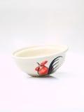 有在白色隔绝的鸡样式的一个白色陶瓷碗 库存照片