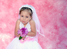 有一个滑稽的表示的年轻新娘 库存照片