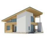 有一个绿色屋顶的木房子 免版税库存图片
