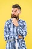 有一些疑义 周道的表示 需要认为 犹豫体贴的人做出决定 行家有胡子的面孔 免版税库存照片
