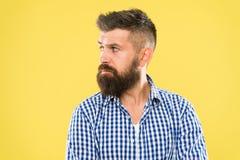 有一些疑义 行家有胡子的面孔不肯定在某事 黄色背景关闭的体贴的有胡子的人 免版税库存照片