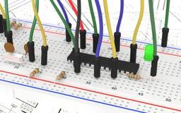 有一些组分和导线的原型电子委员会 免版税库存图片