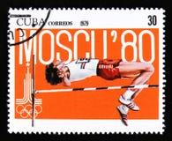 有一位拳击手的图片的古巴,从系列XX夏天奥运会,慕尼黑, 1972年,大约1973年 免版税库存图片