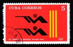 有一关闭的古巴,从系列XX夏天奥运会,慕尼黑, 1972年,大约1973年 免版税库存照片