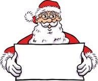 有一副空白的横幅的圣诞老人 库存照片