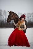 有一匹棕色马的美丽的少妇 库存照片