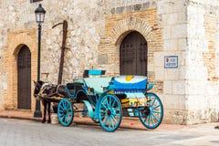 有一匹马的减速火箭的支架在一条城市街道上在圣多明哥,多米尼加共和国 复制文本的空间 库存照片