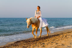 有一匹马的女孩在海滩 图库摄影