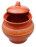 有一半的陶瓷罐开放盒盖 免版税库存图片