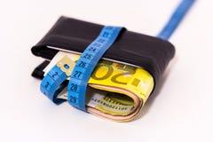 有一卷测量的磁带的肥胖钱包 图库摄影