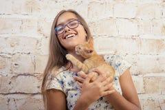 有一只喜爱的小猫的女孩 图库摄影