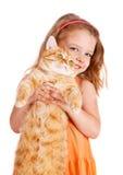 有一只大红色猫的小女孩 库存照片