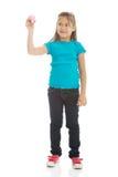 有一只大蜡笔的小女孩 免版税图库摄影