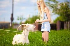 有一只小山羊的国家女孩在她的手上 免版税库存照片