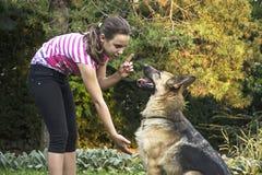 有一只德国牧羊犬的11女孩 免版税库存图片