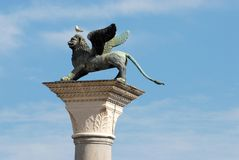 有一只海鸥的飞过的狮子头在圣马可广场在威尼斯在意大利 免版税图库摄影