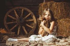 有一只猫的美丽的女孩关于干草 库存图片