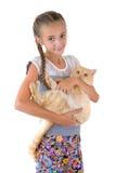 有一只红色猫的女孩 库存图片