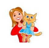 有一只滑稽的全部赌注猫的可爱的女孩 皇族释放例证