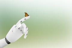 有一只蝴蝶的机器人手对此` s手指 库存照片