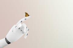 有一只蝴蝶的机器人手对此` s手指 库存图片