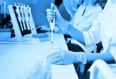 有一台分配器的一位实验室科学家在他的手上举办经验或分析 免版税库存图片