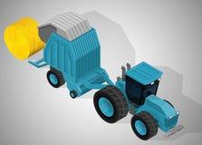 有一台圆的打包机的农用拖拉机 库存例证