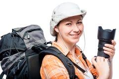 有一台好照相机和一个大背包的非职业摄影师 库存图片