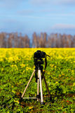 有一台照相机的三脚架在领域 库存照片