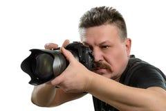 有一台照相机的画象摄影师在被隔绝的背景 库存照片