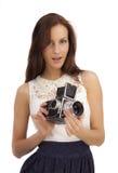有一台老照相机的女孩 库存照片