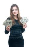 有一团的女孩金钱在她的手上 免版税库存照片