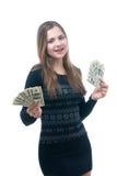 有一团的女孩金钱在她的手上 图库摄影