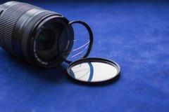 有一块残破的玻璃的透镜过滤器 照相机作用eps10例证透镜彩虹向量 图库摄影