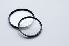 有一块残破的玻璃的透镜过滤器 照相机作用eps10例证透镜彩虹向量 库存照片