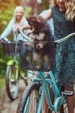 有一头金发的母亲的画象和女儿在自行车乘坐与他们逗人喜爱的小的波美丝毛狗狗在公园 库存图片