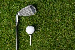 有一套的绿色草坪高尔夫球的事,有题字的一个地方与权利 库存照片
