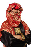 有一套阿拉伯服装的人。 狂欢节 免版税库存照片