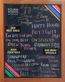 有一家餐馆的奉献物的黑板在四点中希拉顿阿格拉 库存图片