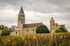 有一座两个阶段钟楼的教会 免版税库存照片