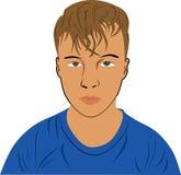 有一张哀伤的面孔的一个男孩 免版税库存图片